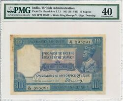 British Administration India 10 Rupees Nd1917-30 George V Pmg 40