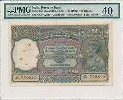 Reserve Bank India 100 Rupees Nd1937 Cawnpore Pmg 40