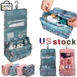 Portable Travel Cosmetic Bag Women Makeup Organizer Bag Toiletry Hanging Pouch $9.79