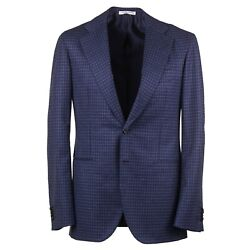 Orazio Luciano Navy Blue Check Soft Brushed Flannel Wool Suit 38r Eu 48