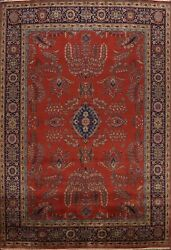 Floral Agra Vegetable Dye Oriental Area Rug Dining Room Hand-knotted Carpet 9x12