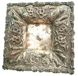 Classic S Kirk And Son Sterling Silver Repousse Square Calling Card Tray