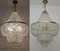 Matching Pair Of Antique Vintage Brass And Crystals Giant Empire Chandeliers Lamp