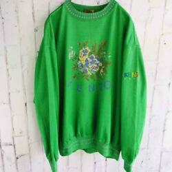 Kenzo Golf Front Logo Flower Embroided Sweatshirt Green Size 2 Pre-owned