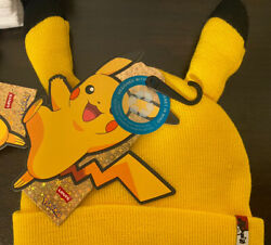 Pokemon Pikachu Beanie Hat Knit Yellow Jeans With Ears 25th Anniversary