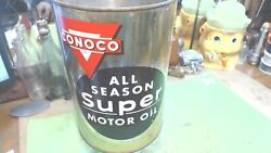 Vintage--conoco -super 5 Quart Motor Oil Can-great Shape And Color--no Top