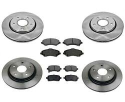 Fits For 14-16 Town And Country Front And Rear Brake 302mm Rotors And Ceramic Pads