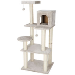56 Cat Tree Condo Pet Furniture Activity Tower Play House With Perches Beige
