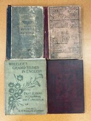 Antique Books Lot Of 8 - Children's Readers School Primers Vintage Books As Is