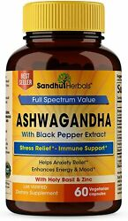 Sandhu Herbals Ashwagandha With Zinc Black Pepper Extract   Stress Relief 60ct