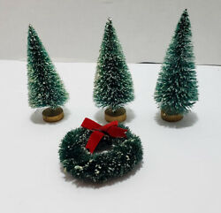 3 Vintage Christmas Flocked Bottle Brush Trees And A Wreath Free Shipping