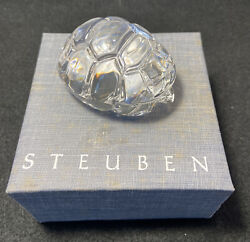 Steuben Glass Turtle Hand Cooler W/box Signed, By Lloyd Atkins 5514