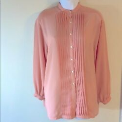 Authentic Givenchy Women's Mock Neck Pleated Button Up Blouse. Size: 6. $88.99