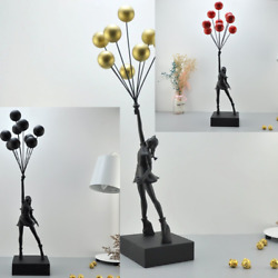 Flying Balloons Girl Art 22.5 inches Banksy Black Sculpture Luxurious Statue