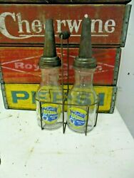 Richlube Motor Oil Bottle Dual Set With Carrier 1 Qtr. With Master Mfg. Spout
