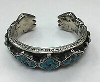 Antique National Bracelet With Turquoise 19th Century Silver Original .