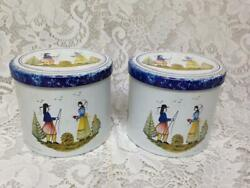 Vintage, 2-pc Henriot Quimper, France Tin Tea-coffee Canisters 4in Hx 4.5in D