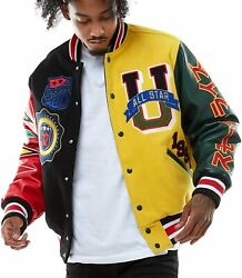 Smoke Rise Unisex All Star Varsity Jacket Hipster Urban Nyc Utility Outerwear, F