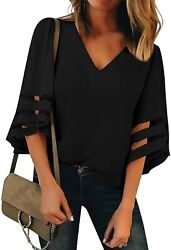 Lookbookstore Womenand039s V Neck Mesh Panel Blouse 3/4 Bell Sleeve Loose Top Shirt