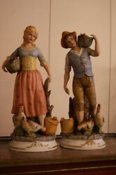 Vintage Antiqueoriginal Paired Statuettes Girl With A Youth Europe Of The Xix .