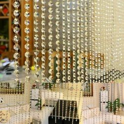 Glass Crystal Curtain String Beads Door Window Panel Sheer Valance Living Room