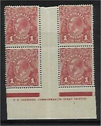 Australia Kgv Sg 21 1d One Penny Red Smooth Paper Harrison One Line Imprint