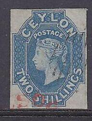 Ceylon Queen Victoria Sg12 2/- Blue Expertised By Brun And Others Superb Used