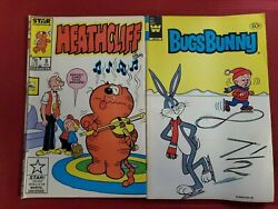 Lot Of 2 Comic Books Bugs Bunny 244 And Heathcliff Vol 1 9 Star And Whitman Comics