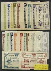 Australia Revenues1947 Beer Duty Excise Set Of 18 2 To 400 Gallons Bottled Beer
