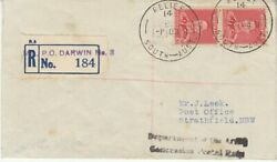 Australia 1941 2d Red Kgvi Coil Pair On Concession Mail Registered Darwin - Nsw