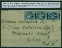 St Helena To Sydney Cover 1896 Bearing 3xsg 40 Queen Victoria