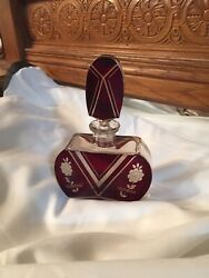 Rare And Gorgeous- German Flower Etched Ruby Crystal Perfume Bottle