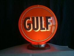 Gas Pump Globe Gulf Repo 2 Glass Lens And Light Stand, New Great For Gifts