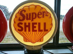 Gas Pump Globe Super Shell And Light Stand New Repro. 2 Glass Lens New