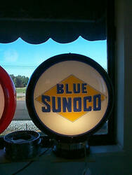 Gas Pump Globe Sunoco Blue And Light Stand New Repro. 2 Glass Lens