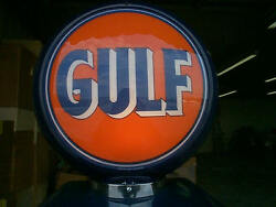 Gas Pump Globe Gulf Reproduction 2 Glass Faces And Light Stand