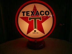 Gas Pump Globe Texaco Repo. 2 Glass Lens And Light Stand New Free Shipping
