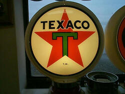 Gas Pump Globe, Texaco 2 Glass Lenses In A Plactic Body And Lamp Stand, New