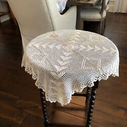 Vintage Hand Crochet Tablecloth Square Cotton Lace Table Cloth Doily Wedding 27