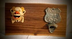 Route 66 Themed Black Walnut Wall Mounted Dual Bottle Opener Homemade