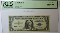 Fr. 1619 1957 1 Silver Certificate Federal Reserve Star Note Pcgs 68 Ppq