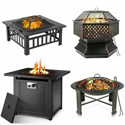 Patio Fire Pit Heater Outdoor Wood Burning Or Propane Gas Firepit Bonfire Party