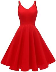 Goobgs Womenand039s 1950s Retro Vintage Spaghetti Strap Cocktail Swing Dresses With P