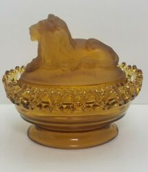Imperial Amber 159 Atterbury Lion Covered Box / Candy Dish W/sticker