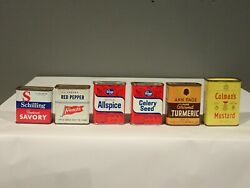 Lot Of 6 Different Spice Tins Droger Colman's Ann Page French's Schilling