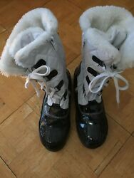Totes Winter Low Calf Zip amp; Lace Boots Black amp; White With Faux Fur Trim Size 5 M $14.99