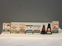 Lot Of 6 Vintage Durkee' Spice Tins Boxes Allspice Maple Turmeric Mustard Bay