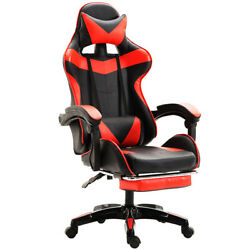 Red Gaming Chair Rc Ergonomic Recliner Office Computer Desk Seat Footrest Swivel