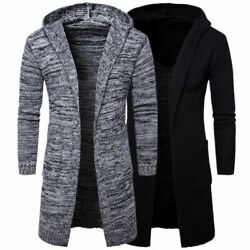 New Menand039s Hooded Knit Sweater Coat Slim Fit Cardigan Trench Long Jacket Hot