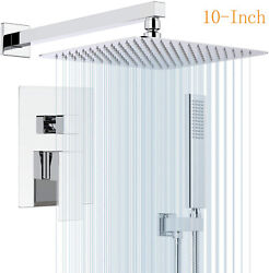 Shower Faucet System Set Chrome 10inch Rainfall Shower Head Mixer Tap With Valve